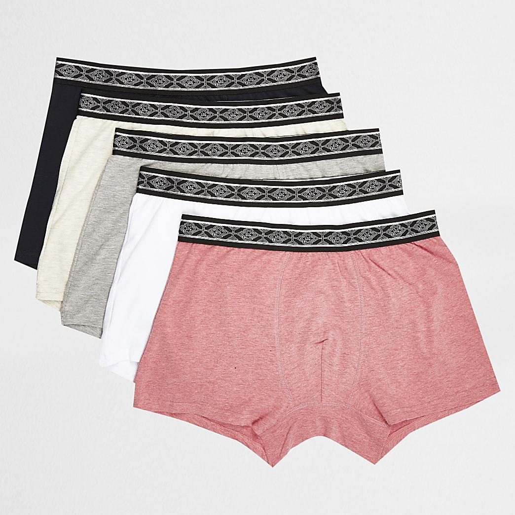 Grijze strakke boxers met print op tailleband set van 5
