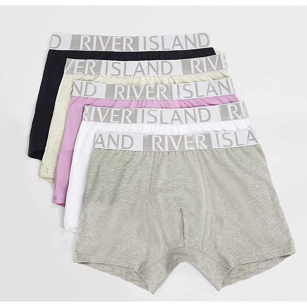 Grey RI waistband trunks 5 pack