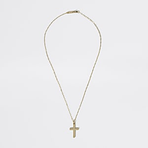 Studio -Créoles plaquées or avec croix