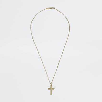 Studio gold plated cross pendant necklace