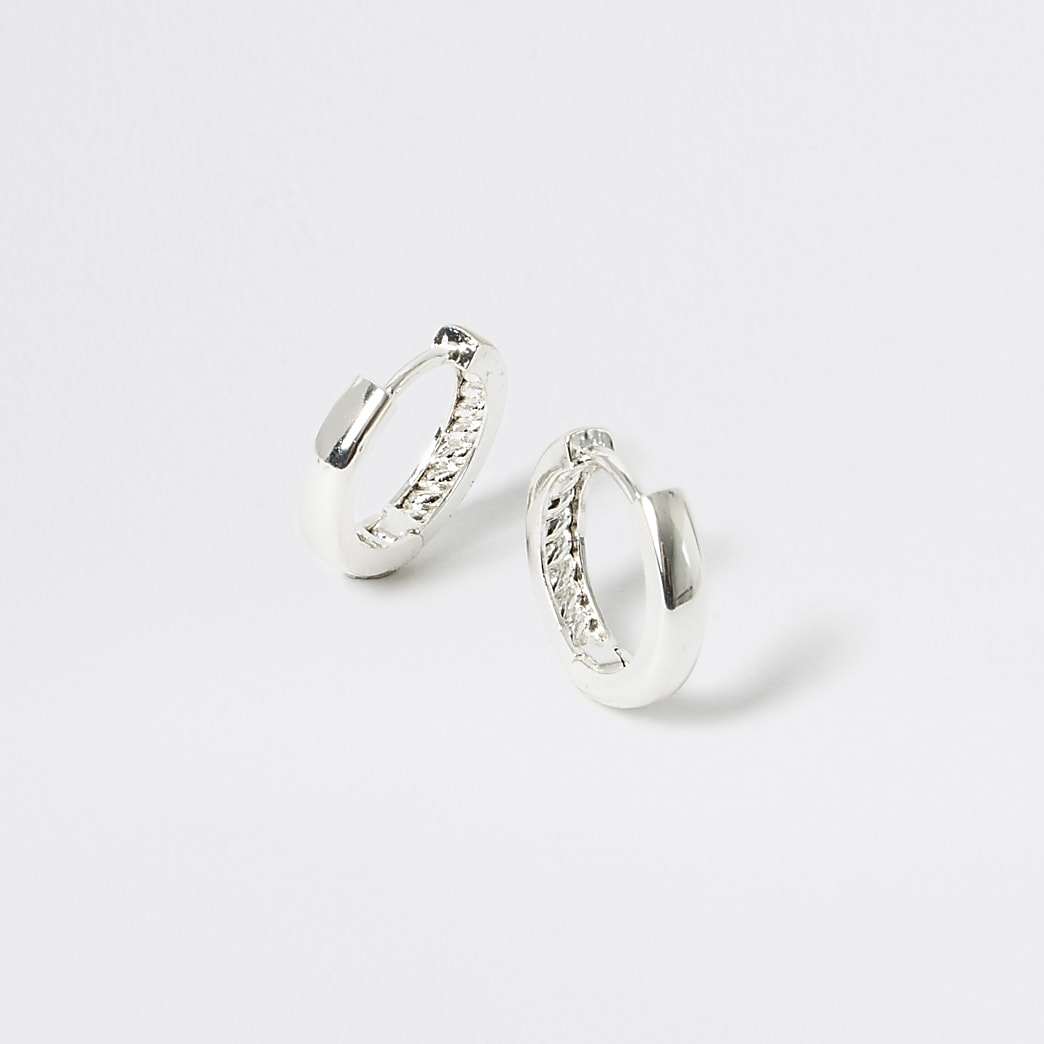 Studio silver plated textured hoop earrings