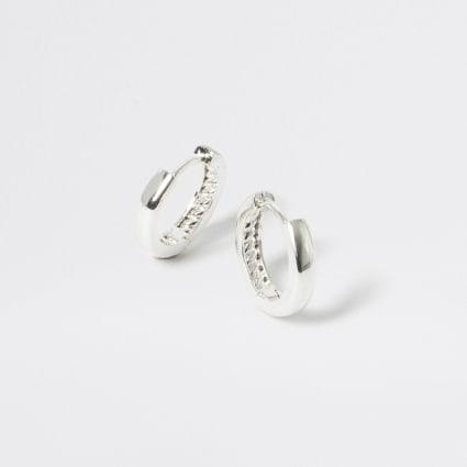 Studio silver plated textured hoop earrings