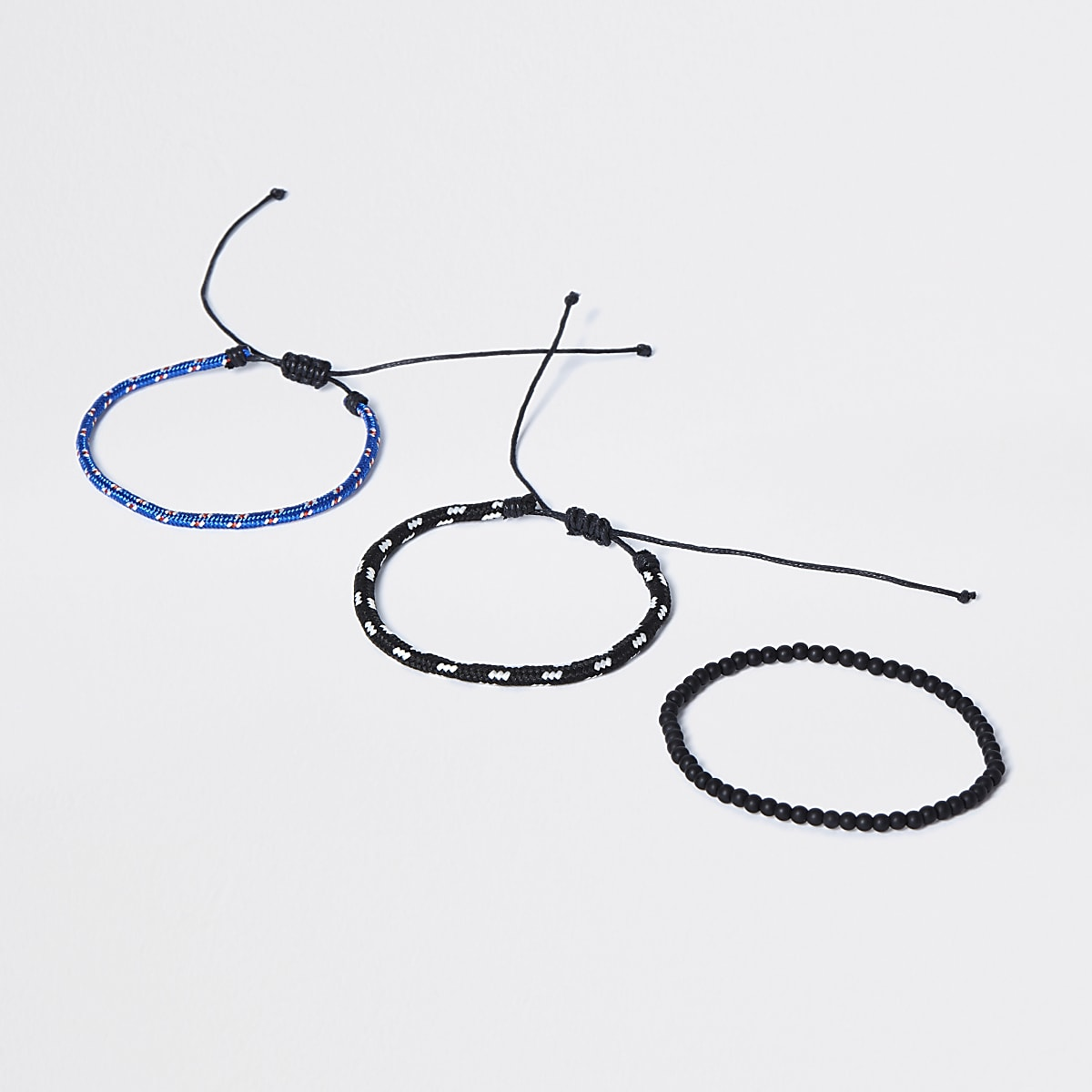 Black rope and beaded bracelet 3 pack