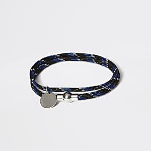 Zwarte wikkelarmband met touw
