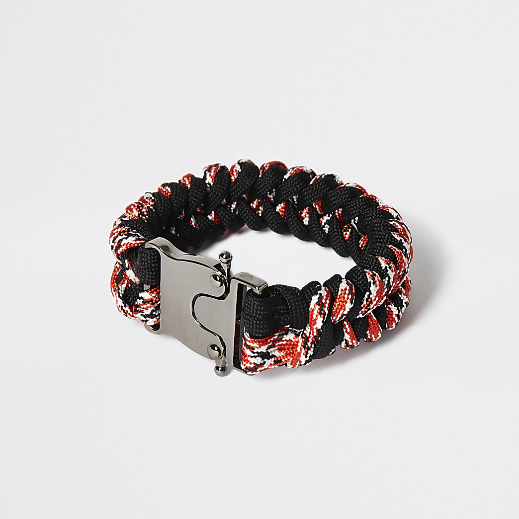Red rope plaited clip bracelet