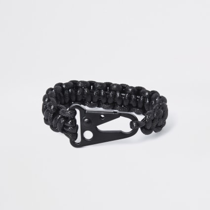 Black plaited clip bracelet