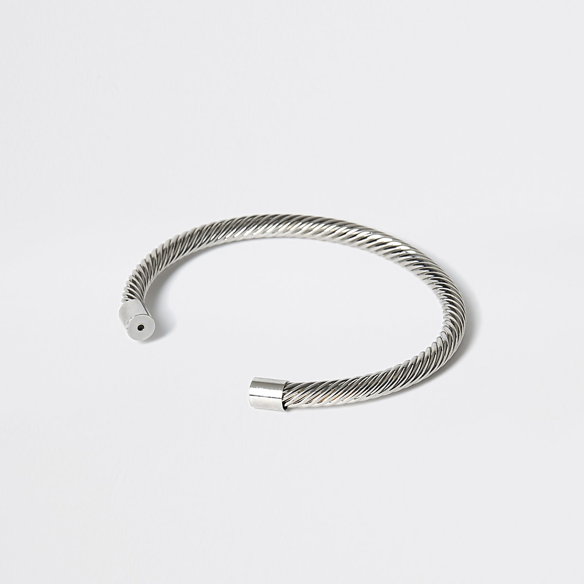 Silver colour twist cuff bracelet