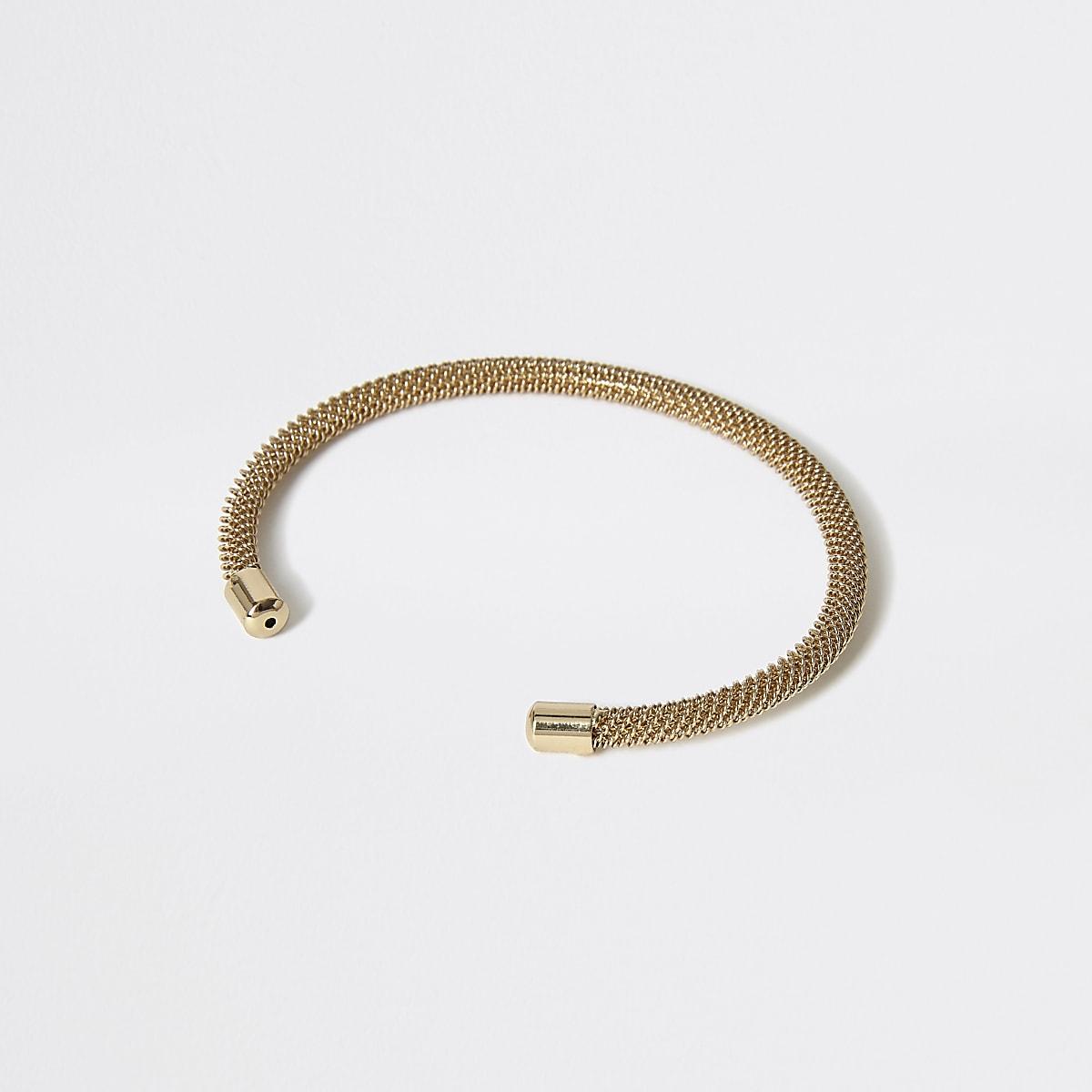 Gold colour mesh cuff bracelet