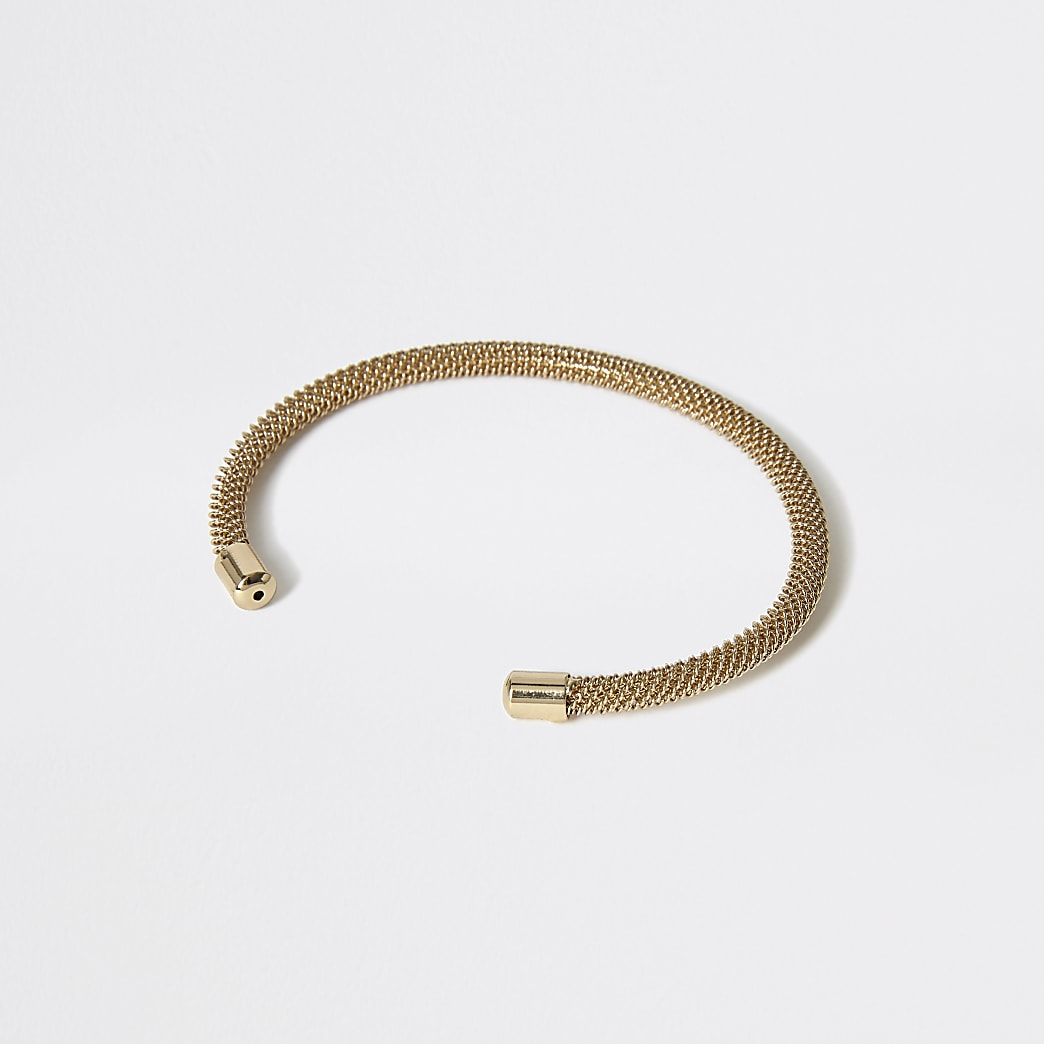 Goudkleurige brede armband met mesh