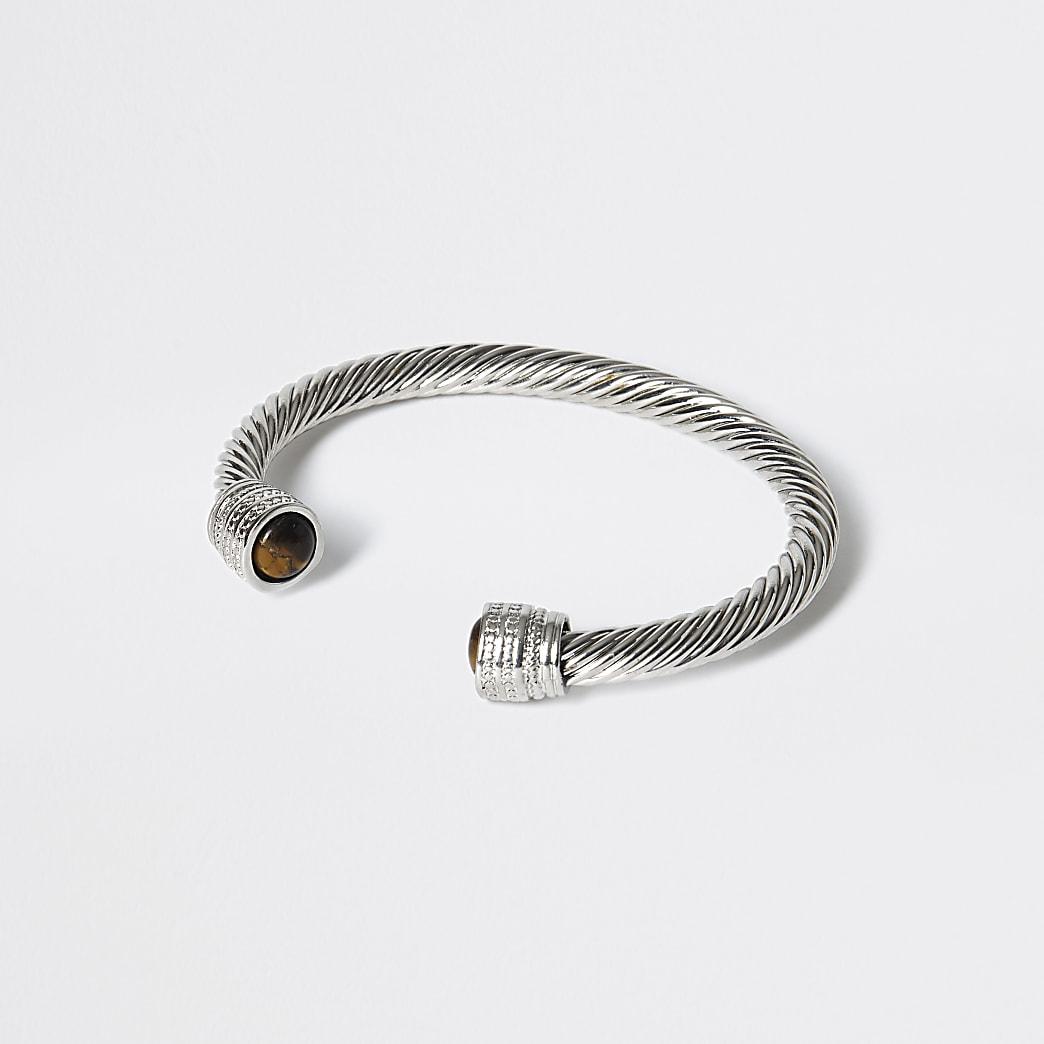 Silver tone chunky twist cuff bracelet