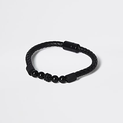 Black beaded wristband bracelet