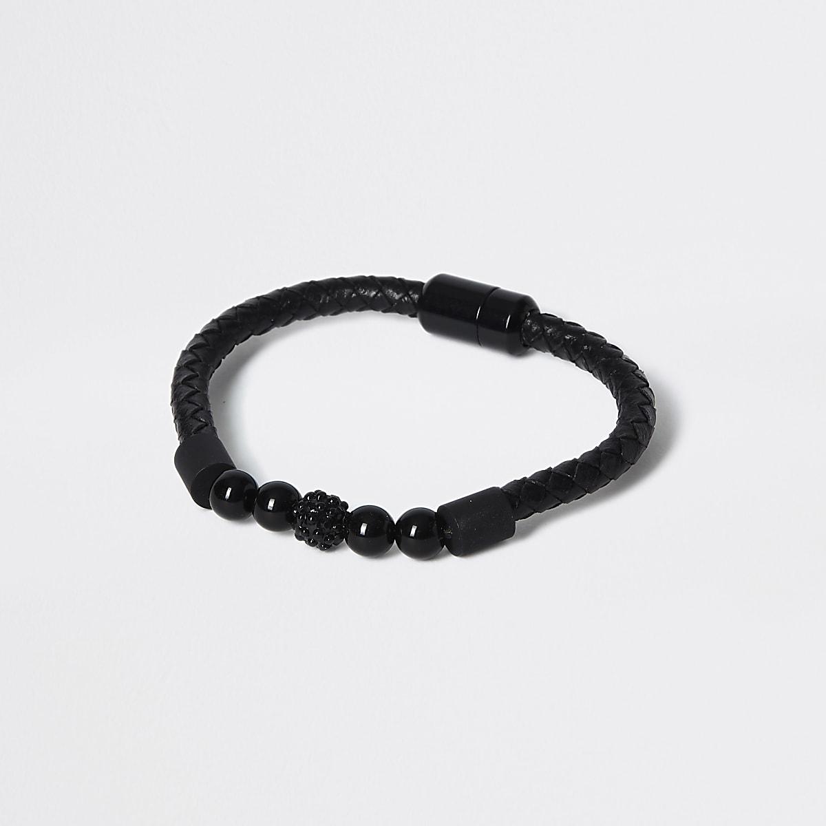 Black beaded wristband bracelet