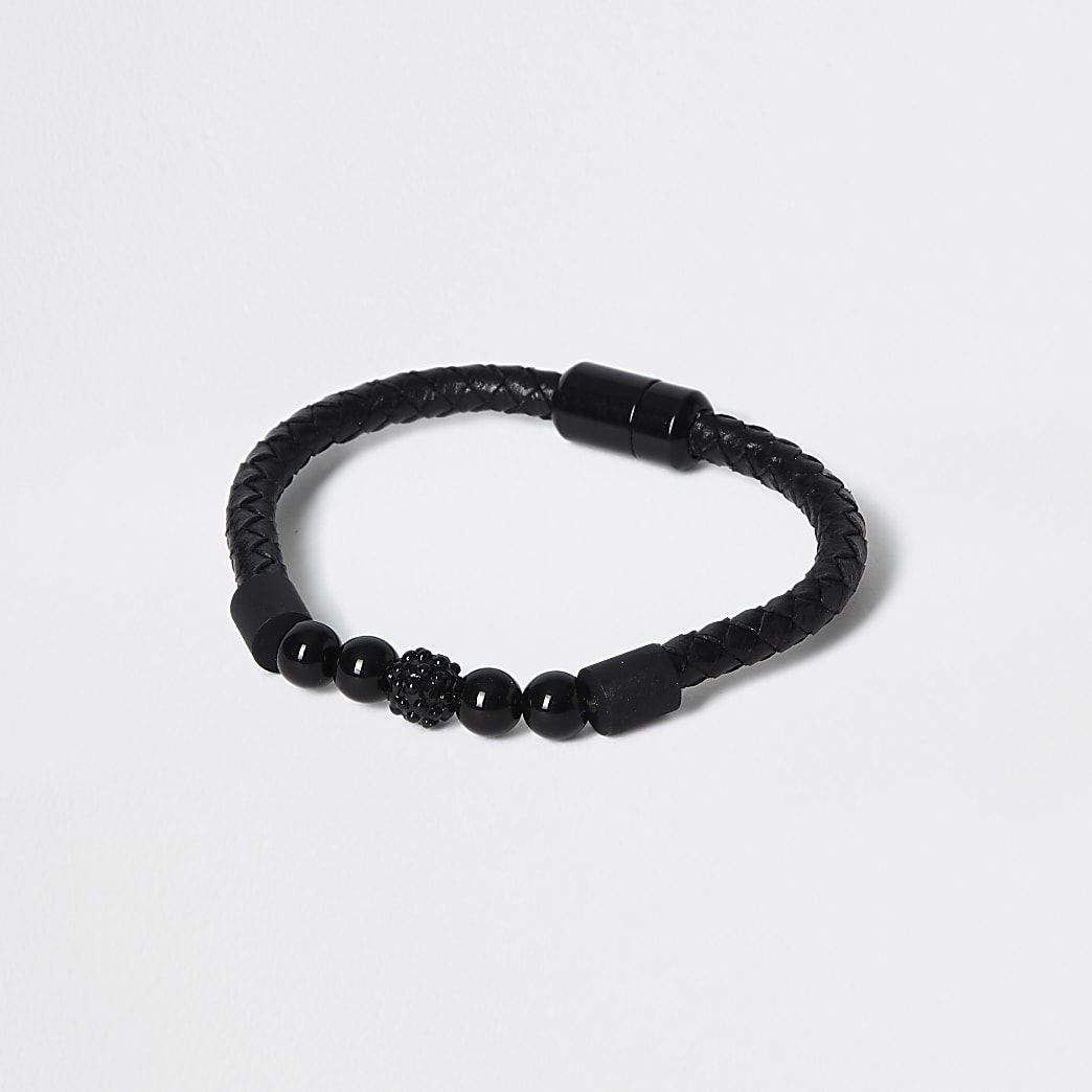 Bracelet tressé noir avec perles