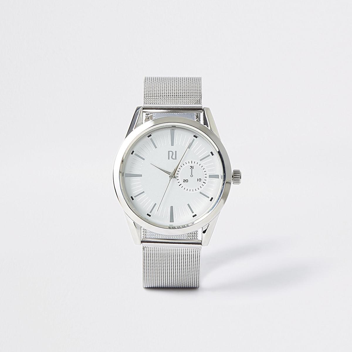 Silver tone mesh strap round watch