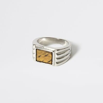 Silver colour tiger eye jewel signet ring