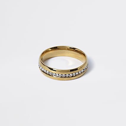 Gold colour diamante embellished ring