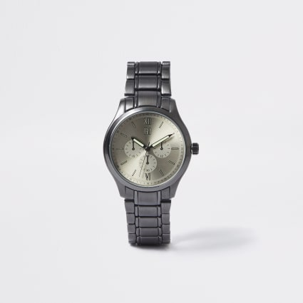 Gunmetal black chain link round watch