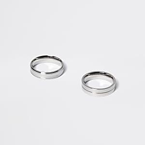 Set van 2 zilverkleurige gekartelde ringen