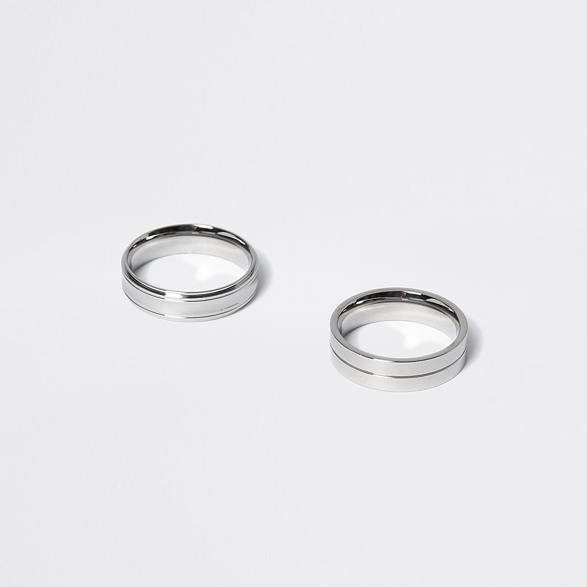 Silver colour ridged ring 2 pack