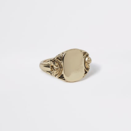Gold colour engraved signet ring