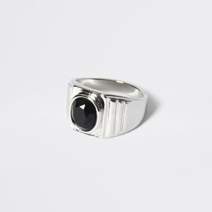 Silver colour black stone signet ring