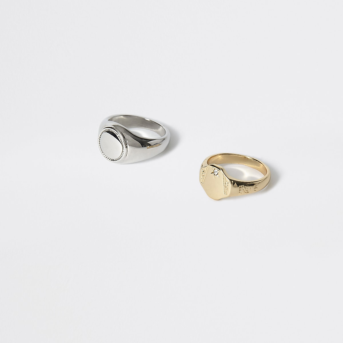 Silver and gold signet ring 2 pack