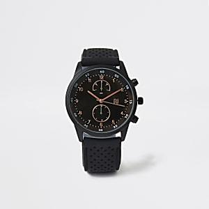 Zwart rond horloge met geperforeerd plastic bandje
