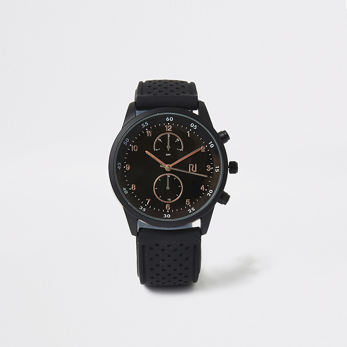 Montre ronde avec bracelet en plastique noirperforé