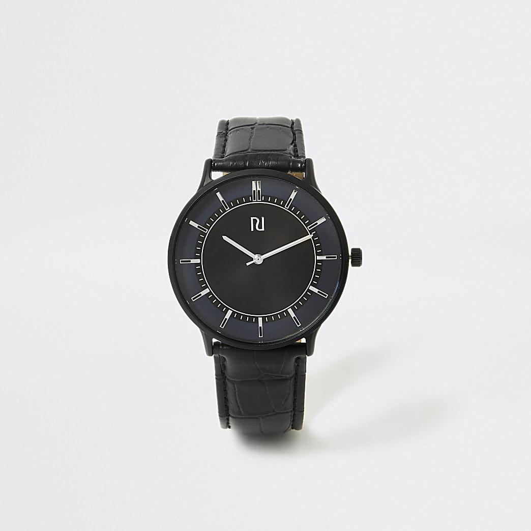 Zwart net horloge met blauwe wijzerplaat