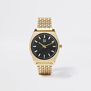 Armbanduhr im Goldton und Retro-Stil mit schwarzem Ziffernblatt und Gliederkettenarmband