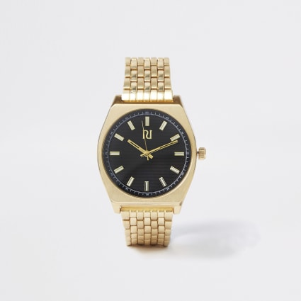 Gold tone black face chain link retro watch