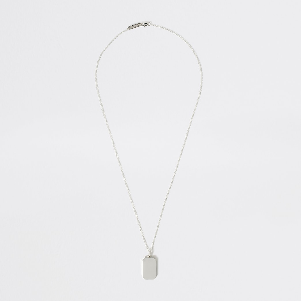 Studio silver plated dog tag necklace