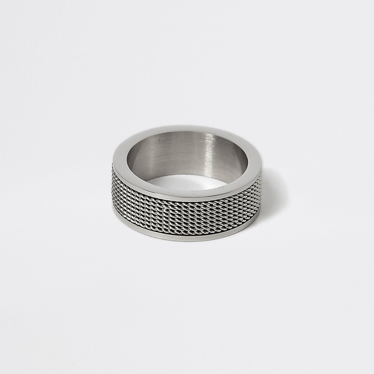 Silver colour mesh textured ring