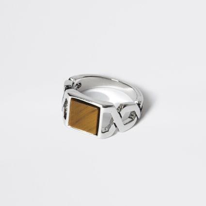 Silver crossover tiger eye signet ring