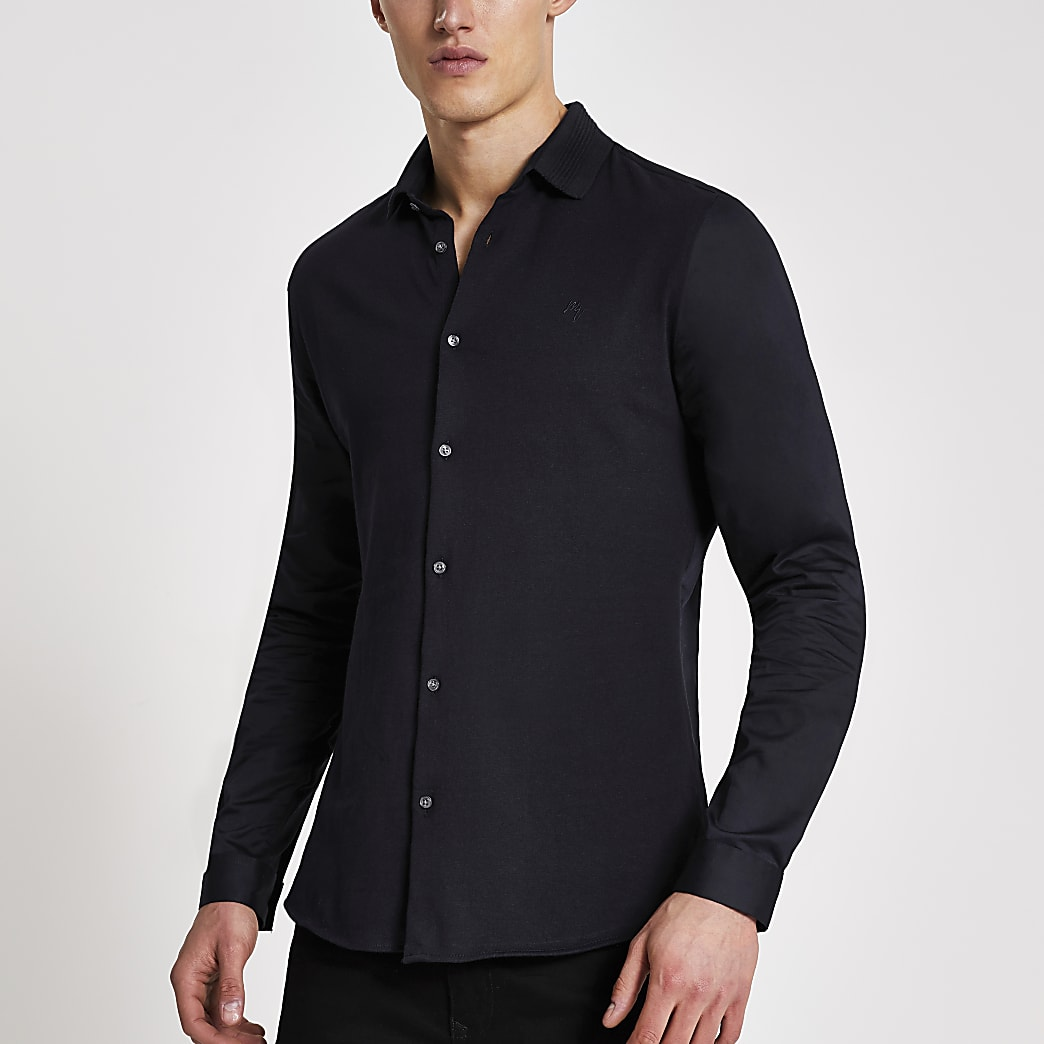 Navy ribbed collar slim fit jersey shirt