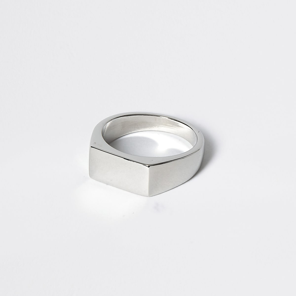 Silver colour rectangle signet ring