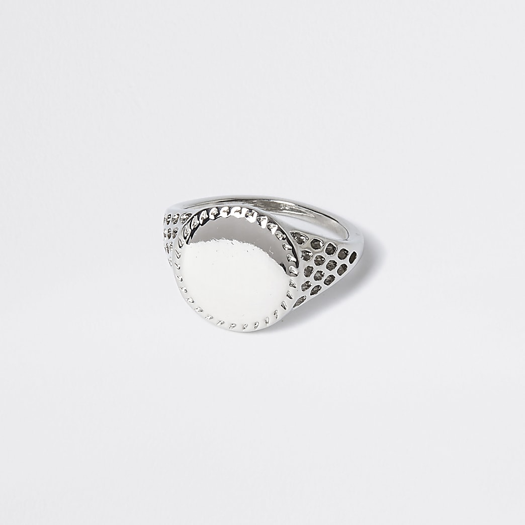 Silver colour perforated signet ring