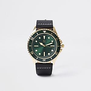 Zwart leer en goudkleurig rond horloge