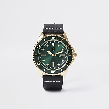 Black leather gold colour round watch