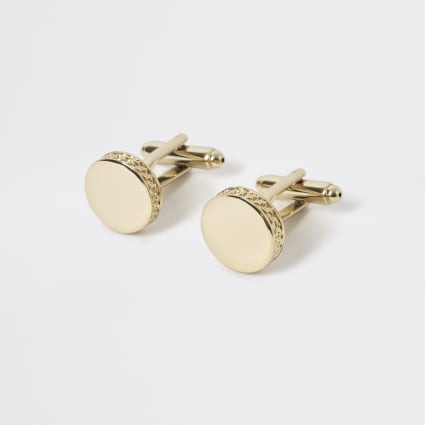 Studio gold plated embossed side cuff links