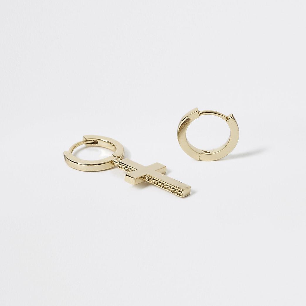 Studio - Goudkleurige geplateerde ketting met kruishanger