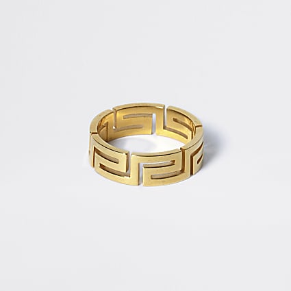 Gold colour geo embossed ring