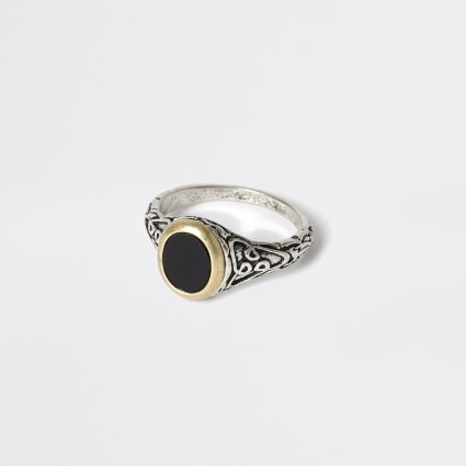 Silver colour embossed signet ring