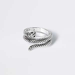Silberfarbener Wickelring mit Schlange