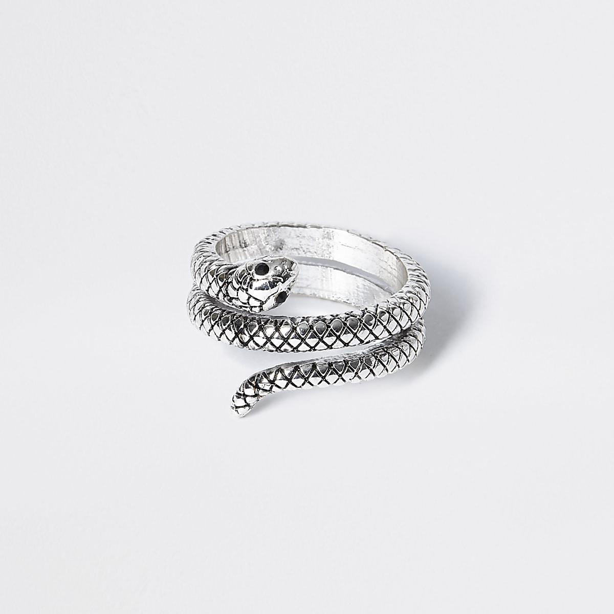 Bague serpent argentée enveloppante