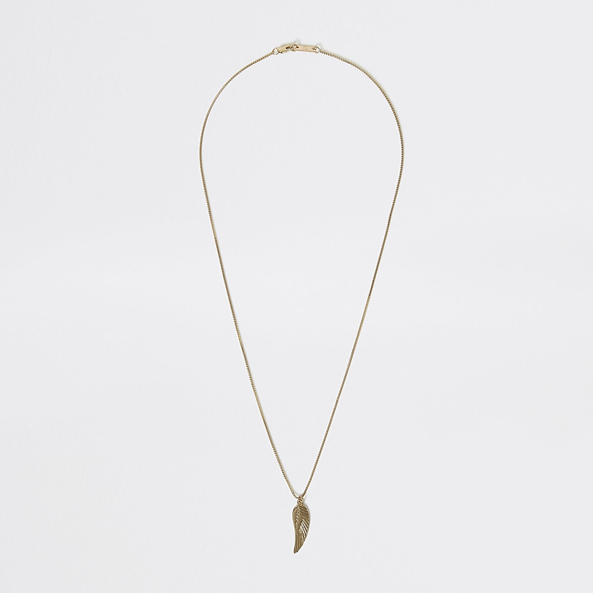 Gold colour feather pendant necklace