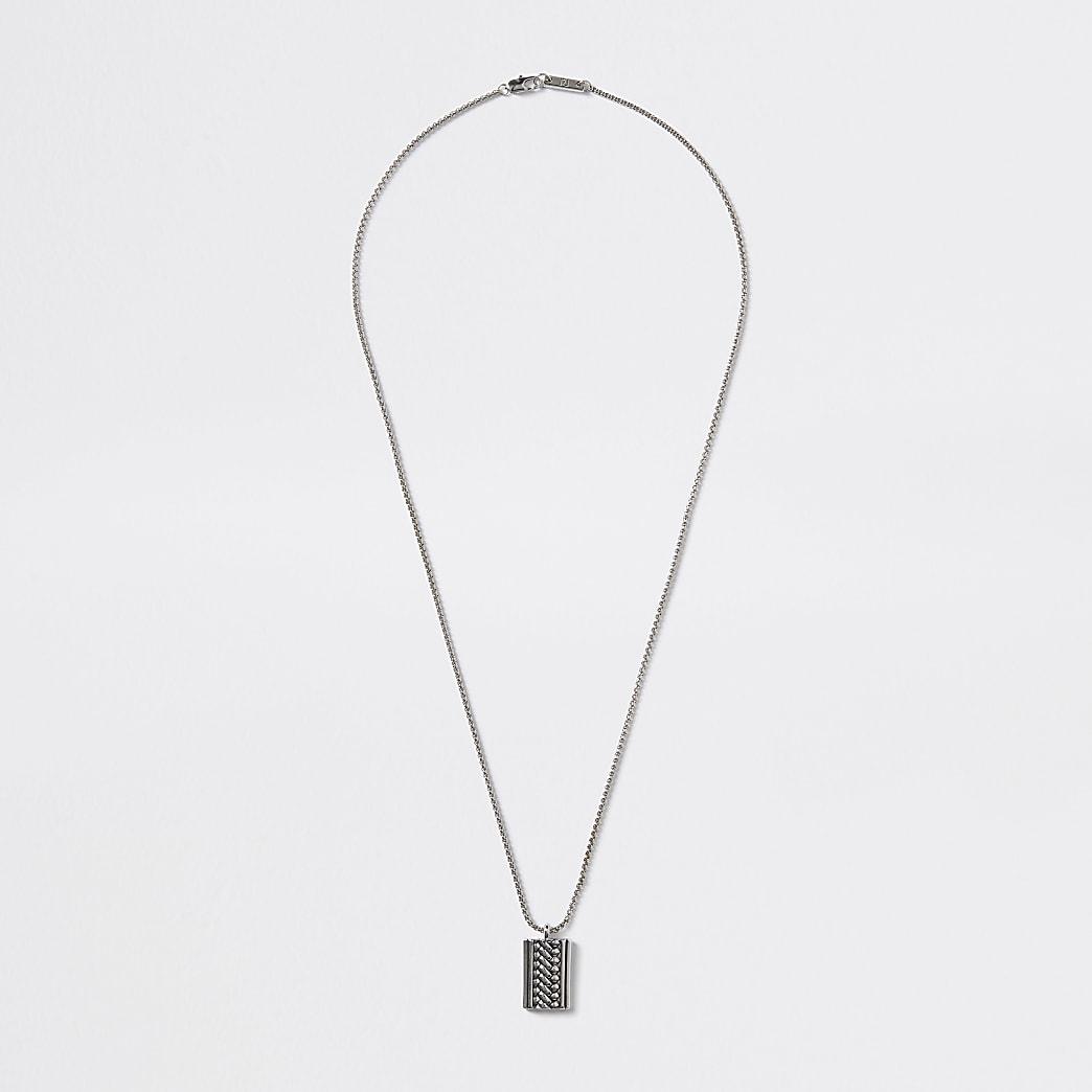 Silver colour engraved charm pendant necklace