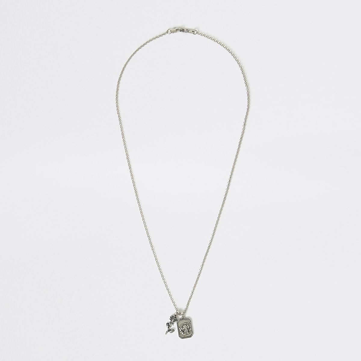 Silver colour rose charm pendant necklace