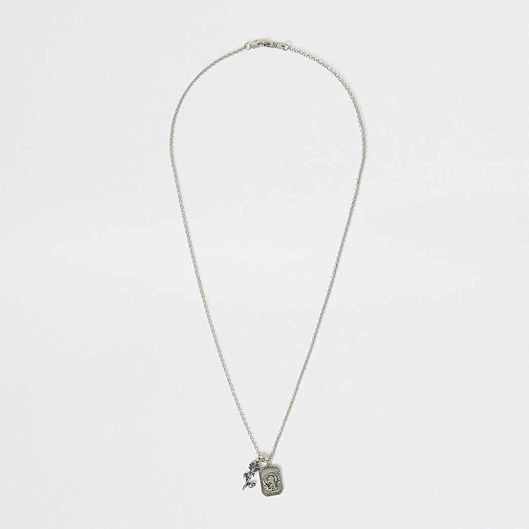 Silver colour rose charm pendant necklace