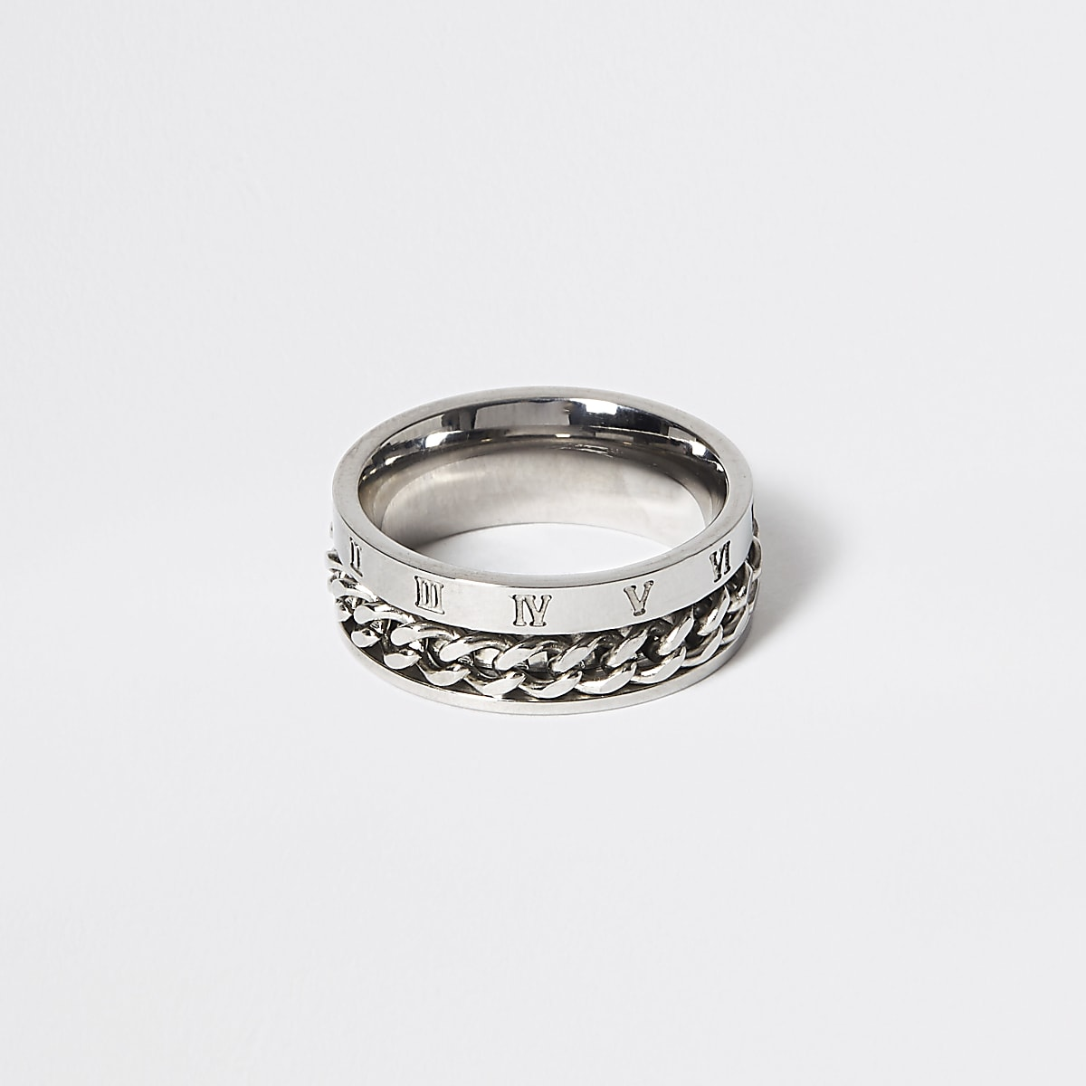 Silver colour engraved chain ring